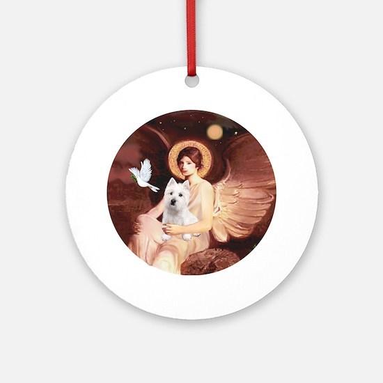 J-ORN-Angel1-Westie-P Round Ornament