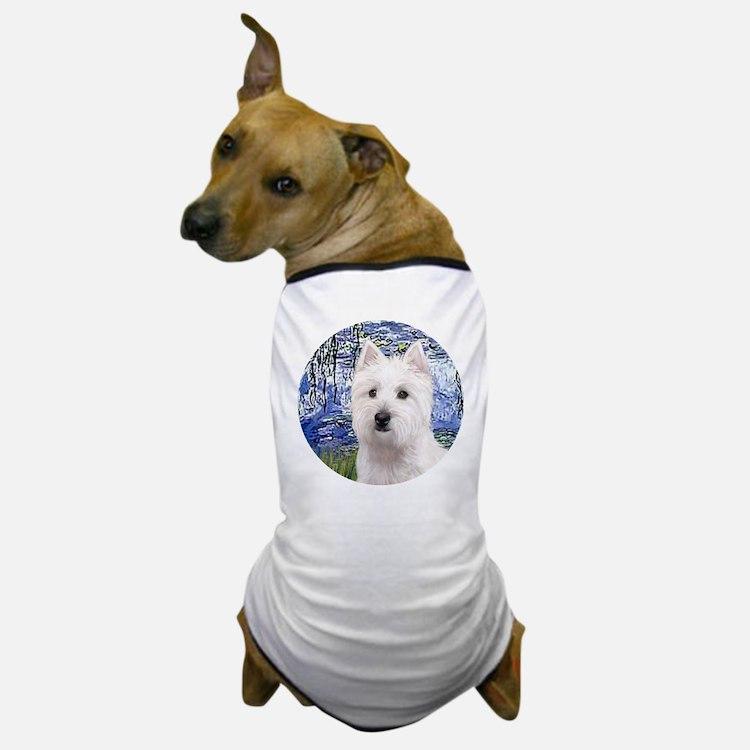 J-ORN-Lilies6-Westie11 Dog T-Shirt