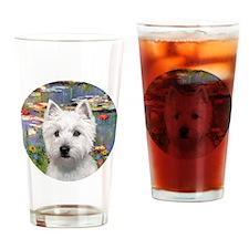 J-ORN-Lilies2-Westie-P Drinking Glass