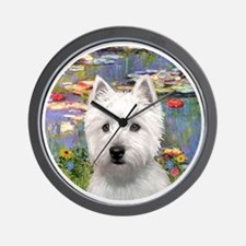J-ORN-Lilies2-Westie-P Wall Clock