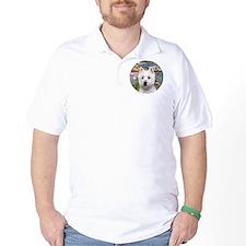 J-ORN-Lilies2-Westie-P T-Shirt
