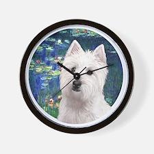 J-ORN-Lilies5-Westie11 Wall Clock