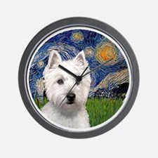 J-ORN-Starry-Westie-P Wall Clock
