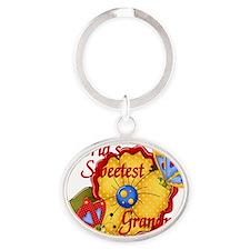 sweetest grandma butterfly Oval Keychain