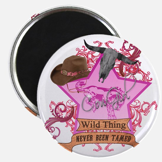 CowGirl Wild Thing never been tamed Pink 2  Magnet