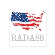 """AmericanBadass_DrkShrt Square Sticker 3"""" x 3"""""""