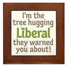 Tree Hugging Liberal Framed Tile