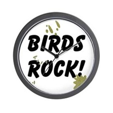 FIN-birds-rock-poopy Wall Clock
