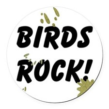 FIN-birds-rock-poopy Round Car Magnet