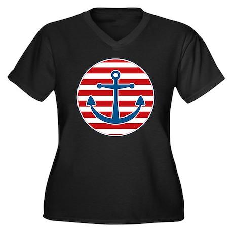 sailoranchor Women's Plus Size Dark V-Neck T-Shirt