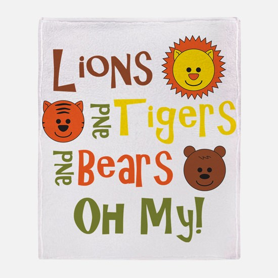 lionstigersbears Throw Blanket