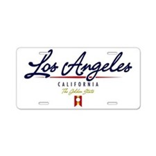 Los Angeles Script W Aluminum License Plate