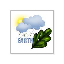 """Save Earth Square Sticker 3"""" x 3"""""""