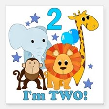 "baby2JungleAnimals Square Car Magnet 3"" x 3"""