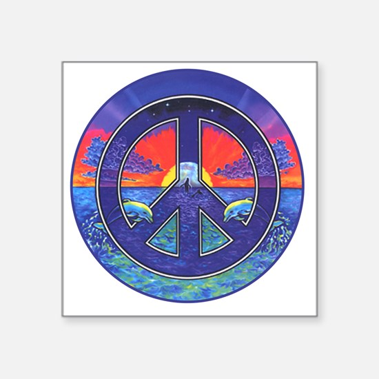 """peace_dolphins Square Sticker 3"""" x 3"""""""