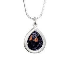 Gordon Pup jewel Silver Teardrop Necklace