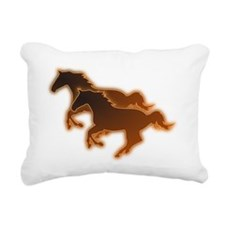 Two Horses Rectangular Canvas Pillow