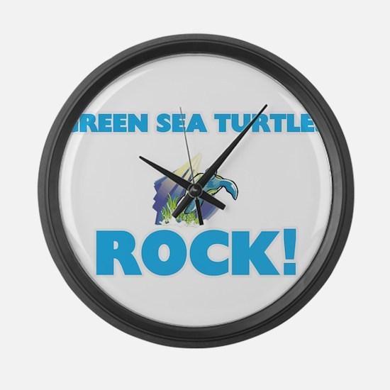 Green Sea Turtles rock! Large Wall Clock