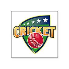 """cricket sports ball shield Square Sticker 3"""" x 3"""""""