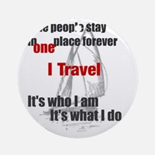 i travel split words Round Ornament