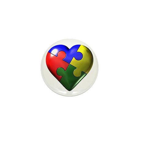 Puzzle Heart Mini Button (10 pack)