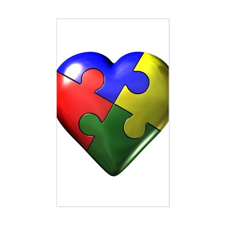 Puzzle Heart Rectangle Sticker