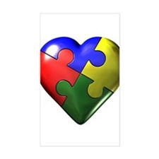 Puzzle Heart Rectangle Stickers