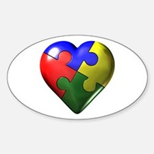 Puzzle Heart Oval Stickers