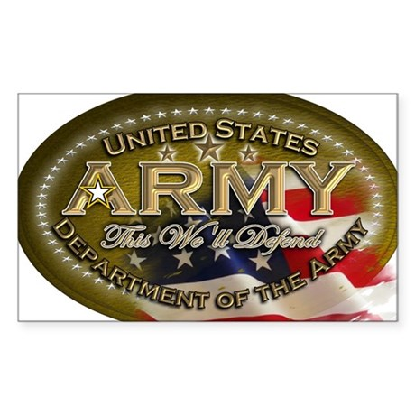 army Oval Sticker (Rectangle)