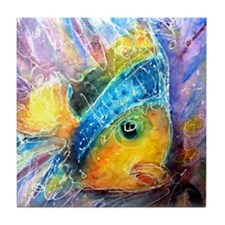 Tropical fish! Bright, art! Tile Coaster