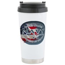 Navy Oval Travel Coffee Mug