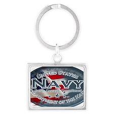 Navy Oval Landscape Keychain