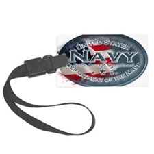 Navy Oval Luggage Tag