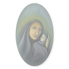 Madonna And Child Christmas Sticker (Oval 10 Pk)