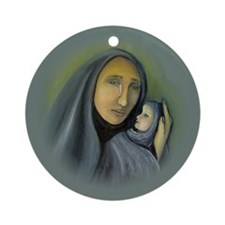 Madonna & Child Christmas Ornament (Round)