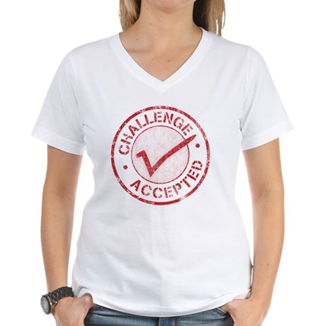 Challenge-Accepted-Round.gi Women's V-Neck T-Shirt
