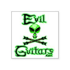 "AlienSkull-Green Revised Ba Square Sticker 3"" x 3"""