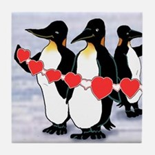 Tile Coaster 1 of 4 penguin heart string set