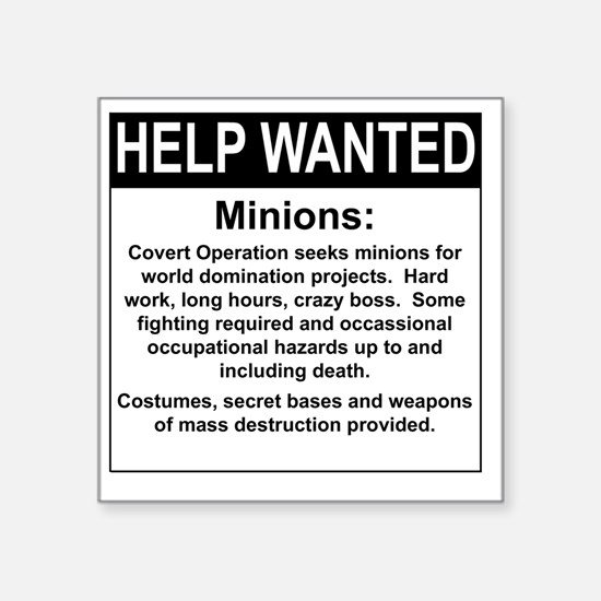 "HelpWanted Square Sticker 3"" x 3"""