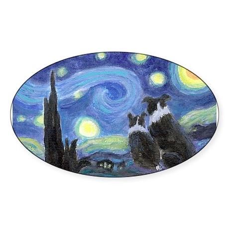 Starry Night Border Collie Sticker