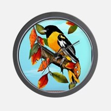Oriole In Fall_pillow Wall Clock