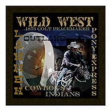"wild west Square Car Magnet 3"" x 3"""