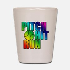 pitch hit and run Shot Glass