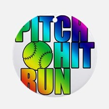 pitch hit and run Round Ornament