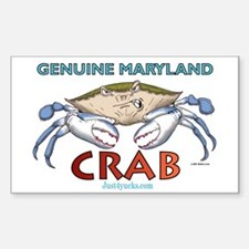 Genuine Maryland Crab Rectangle Decal