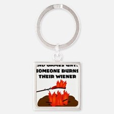 Wiener Burn Square Keychain