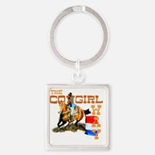 cowgirl way 2 Square Keychain