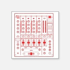 "mixer-lrg-red-worn Square Sticker 3"" x 3"""