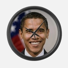 smiling_portrait_of_Barack_Obama- Large Wall Clock