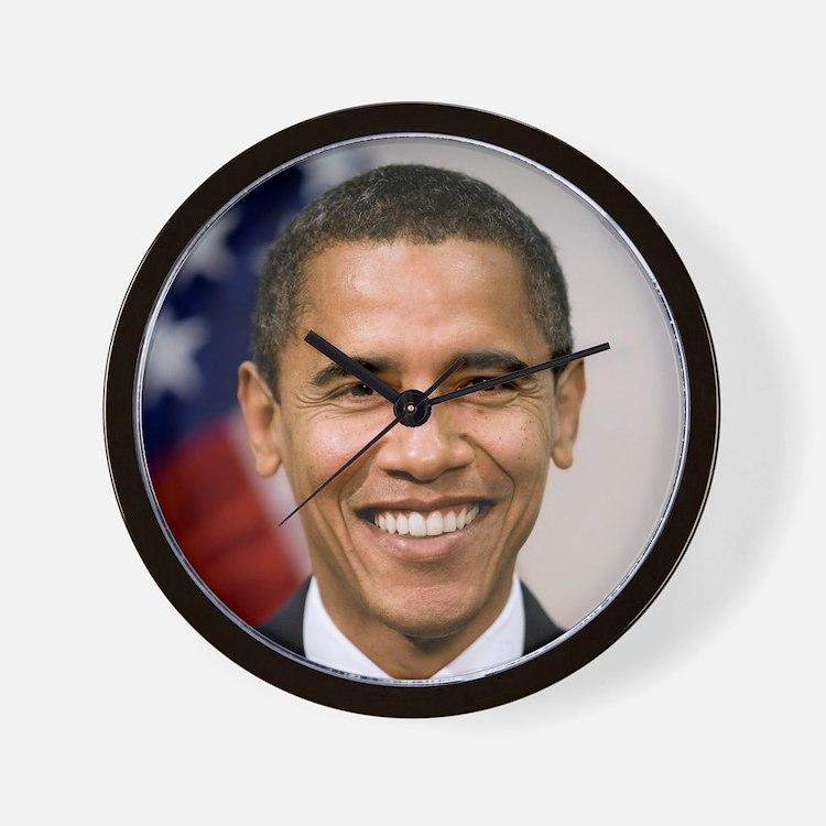 smiling_portrait_of_Barack_Obama-close- Wall Clock